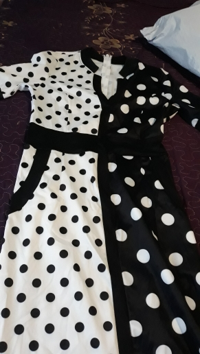 African Dress Vintage Polka Dot White Black Printed Retro Bodycon Women Summer Short Sleeve Plus Size Long Maxi Dress photo review