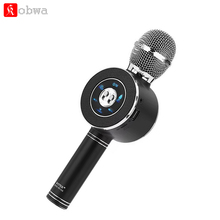 WS668 беспроводной вечерние микрофон партии KTV Караоке дома динамик voice changer Поддержка карты памяти AUX для ПК СВЕТОДИОДНЫЙ LED pk WS858