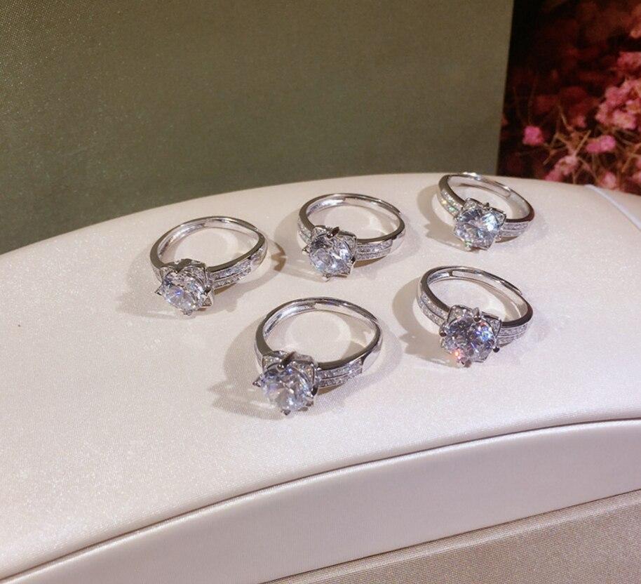 Vente chaude 100% solide 925 argent femmes cadeau bijoux fiançailles anneaux de mariage fleur de Lotus 1.5ct Diamant CZ niveau pierre anneau - 4