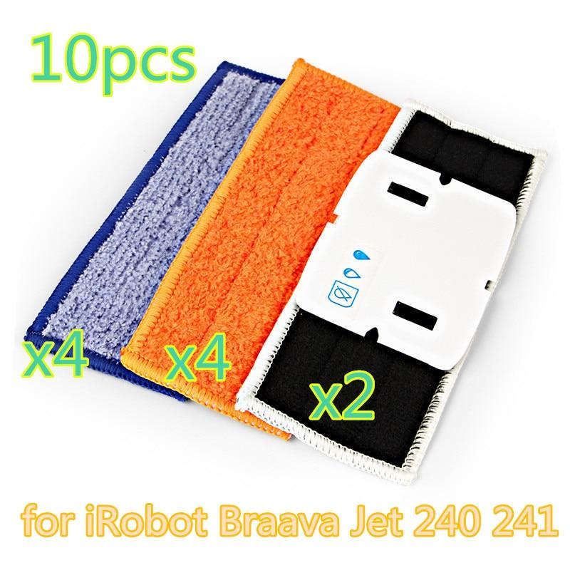 10pcs robot cleaner brushes spare parts 4pcs Wet Pad Mop +4pcsDamp Pad Mop + 2pcs Dry Pad Mop for iRobot Braava Jet 240 241 робот пылесос irobot braava jet 240