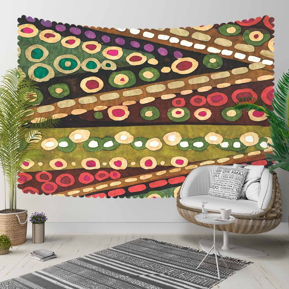 Else Green Purple Red Rings Brown Lines Mandala 3D Print Decorative Hippi Bohemian Wall Hanging Landscape Tapestry Wall Art