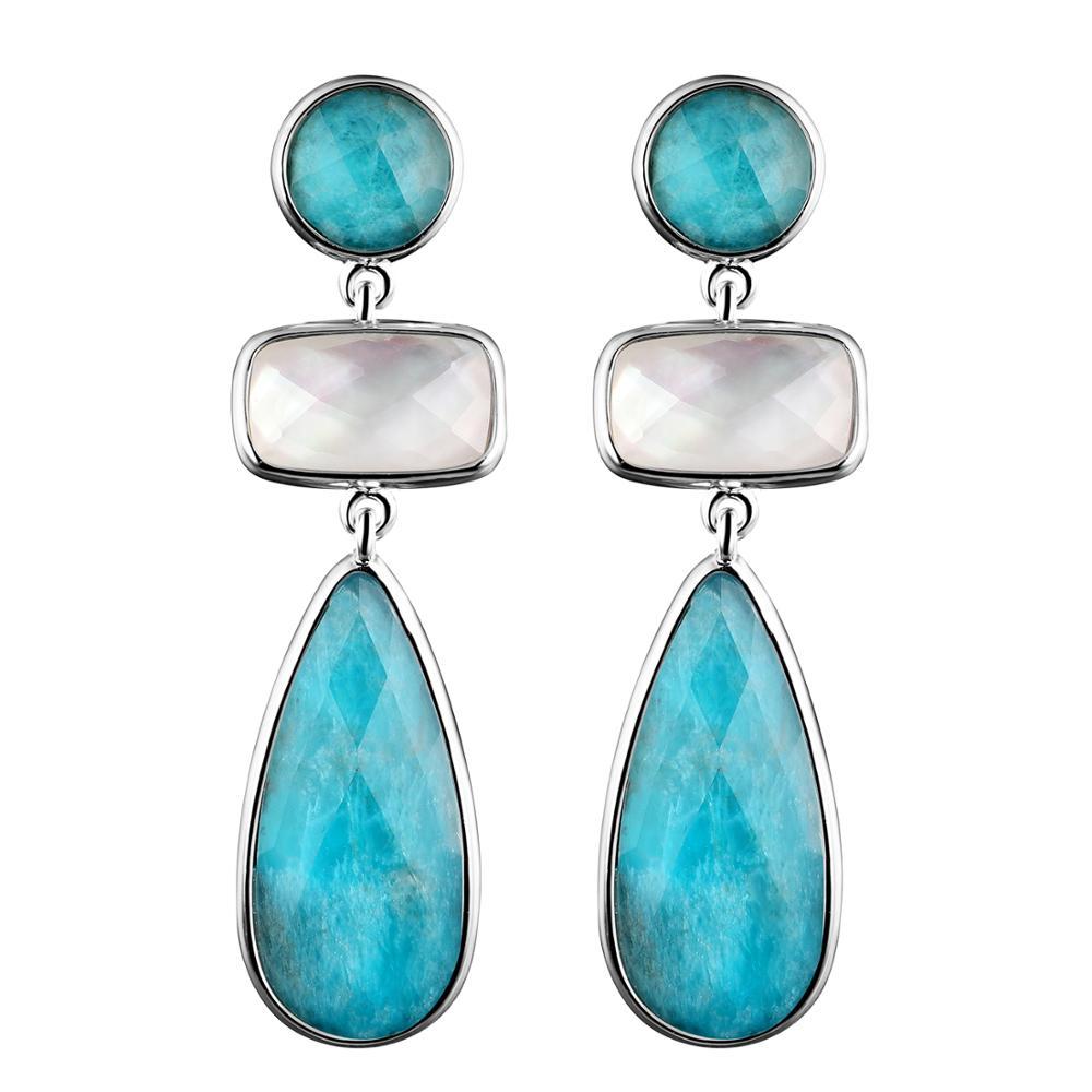 DORMITH echt 925 sterling zilveren oorbellen luxe natuurlijke blauwe Apatiet en wit shell waterdrop oorbellen voor vrouwen fijne sieraden-in Oorbellen van Sieraden & accessoires op  Groep 1
