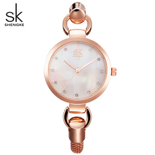 SK New Fashion Ladies Rose Gold Hollow out Stainless Steel Strap Quartz Women Watch 2017 Female