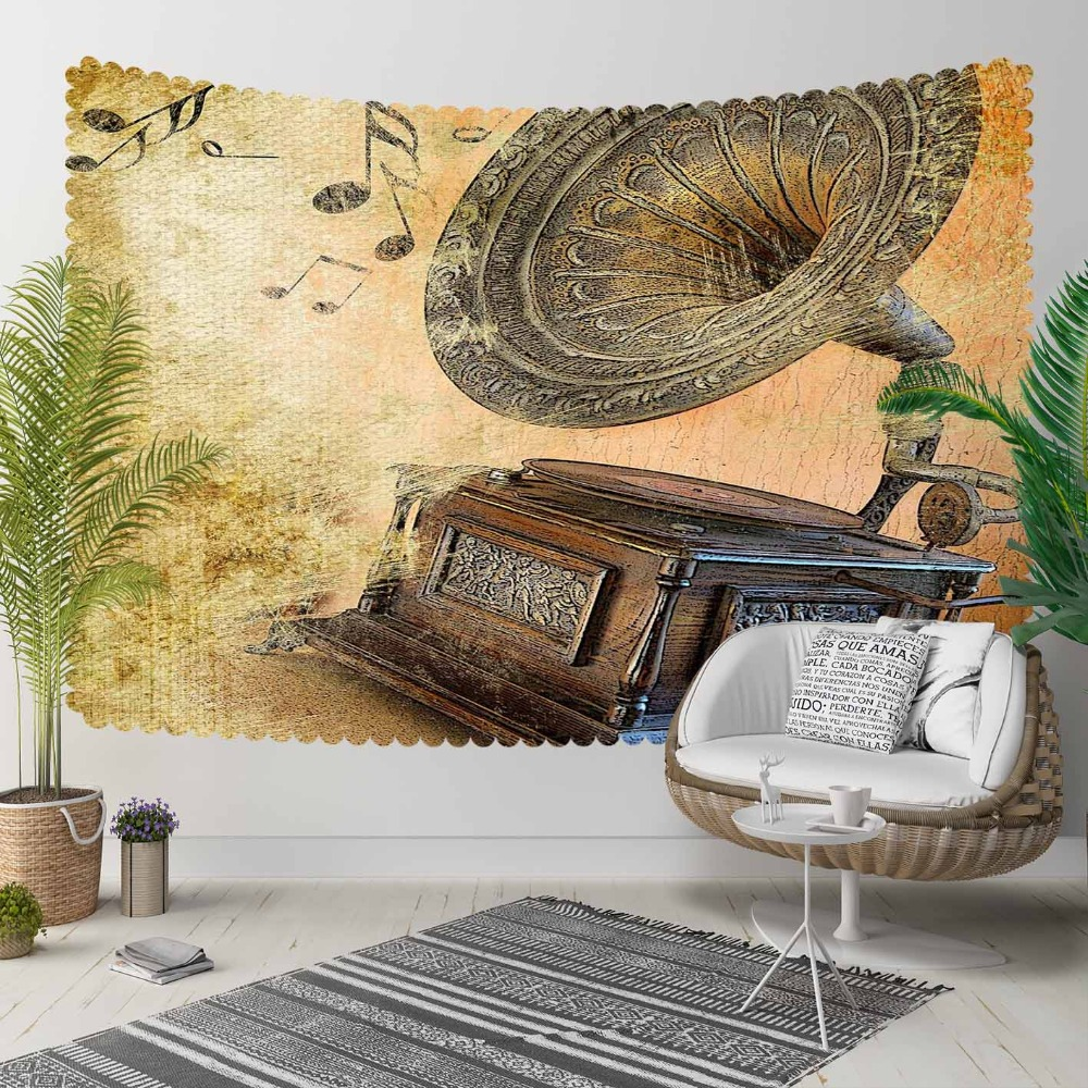 Else Brown Yellow Vintage Gramophone Music Notes 3D Print Decorative Hippi Bohemian Wall Hanging Landscape Tapestry Wall Art
