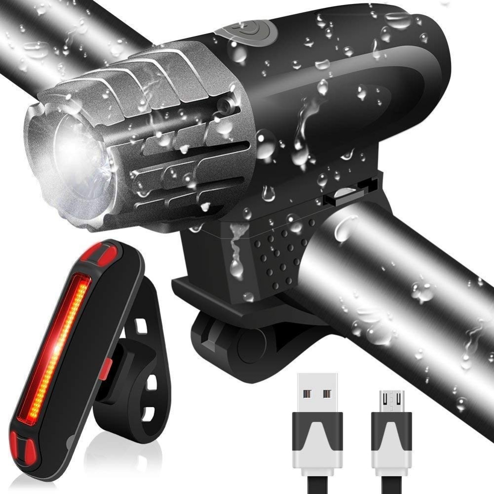 Bike Light USB Rechargeable 1500mA Powerful Waterproof Tail Light, LED Front And Back Rear Lights Easy To Install Bike