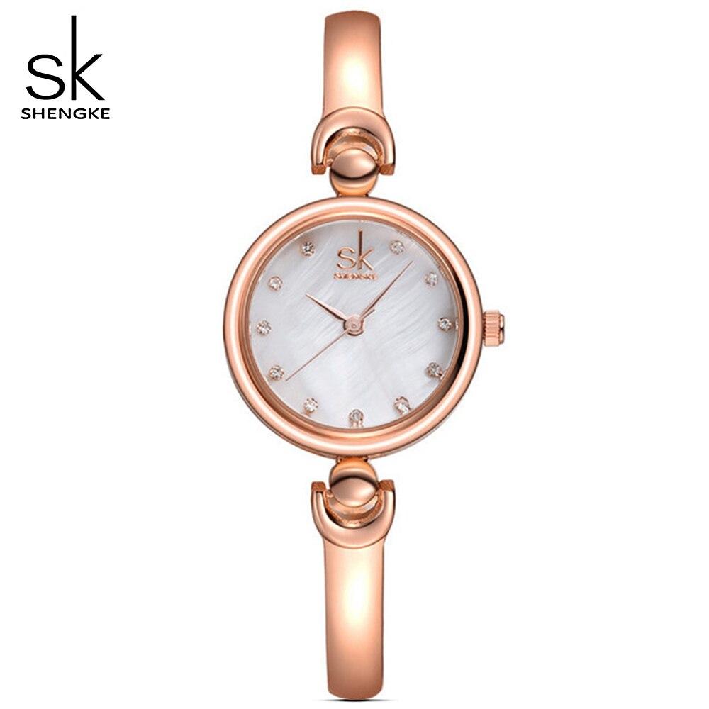 SHENGKE Frauen Goldene Schmuck Armband armbanduhren Genf Quarzuhr Weiblich Uhr Damen Liebhaber geschenke Armbanduhr Reloj Mujer