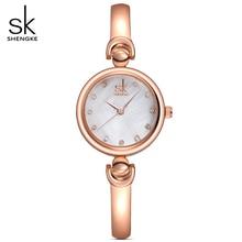 SHENGKE Women Golden Jewelry Bracelet Wrist watches Geneva Quartz Watch Female Clock Ladies Lovers gifts Wristwatch Reloj Mujer
