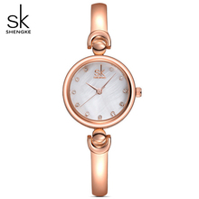 SHENGKE Women Golden Jewelry Bracelet Wrist watches Geneva Quartz Watch Female Clock Ladies Lovers gifts Wristwatch Reloj Mujer