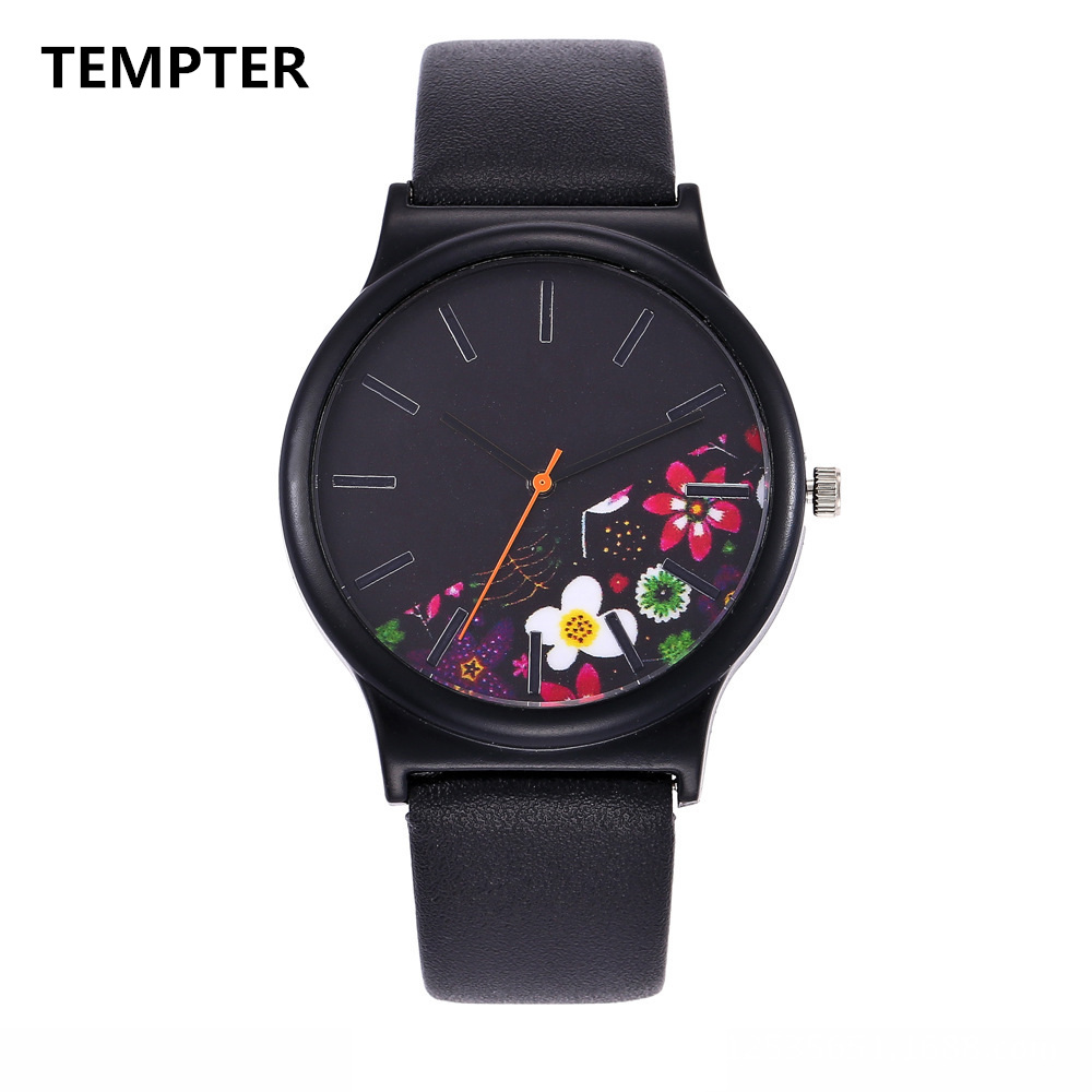 Black Flower Watch Women Watches Ladies 2017 Brand Luxury Famous Female Clock Quartz Watch Wrist Relogio Feminino Montre Femme meibo brand fashion women hollow flower wristwatch luxury leather strap quartz watch relogio feminino drop shipping gift 2012