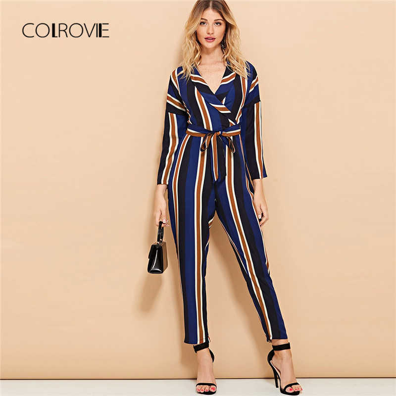 d40effdaae8 COLROVIE V neck Long Sleeve Knot Striped Sexy Women Jumpsuit 2018 Autumn  Casual Overalls For Women