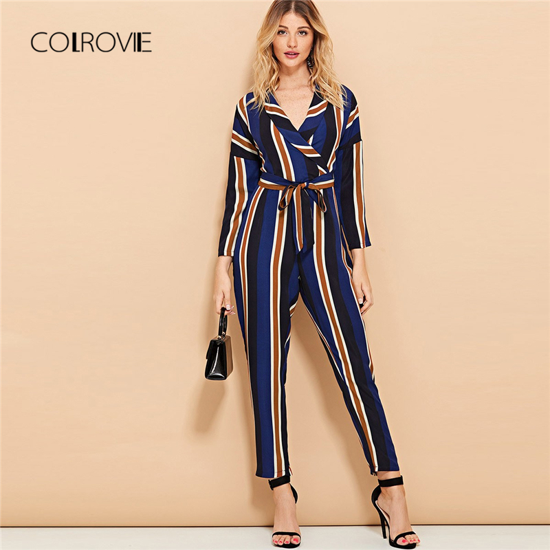 COLROVIE V neck Long Sleeve Knot Striped Sexy Women   Jumpsuit   2018 Autumn Casual Overalls For Women Elegant Female   Jumpsuits