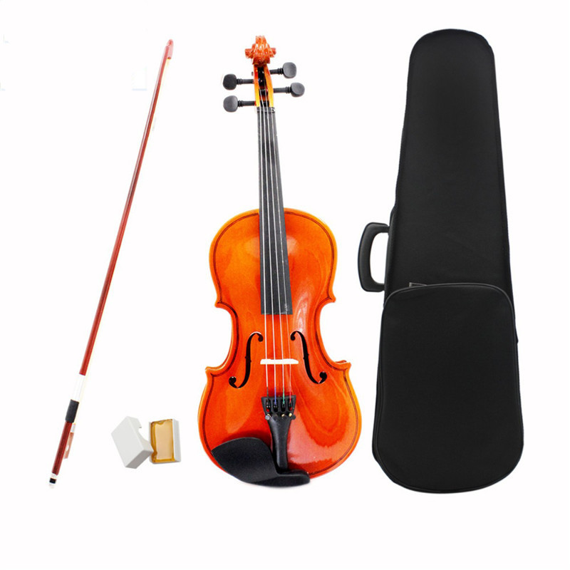 Full Size 4/4 Stringed Instrument Fiddle Natural Acoustic Violin with Violin Case Bow Rosin For Musical Lovers Beginners Gift 4 4 high grade full size solid wood natural acoustic violin fiddle with case bow rosin professional musical instrument
