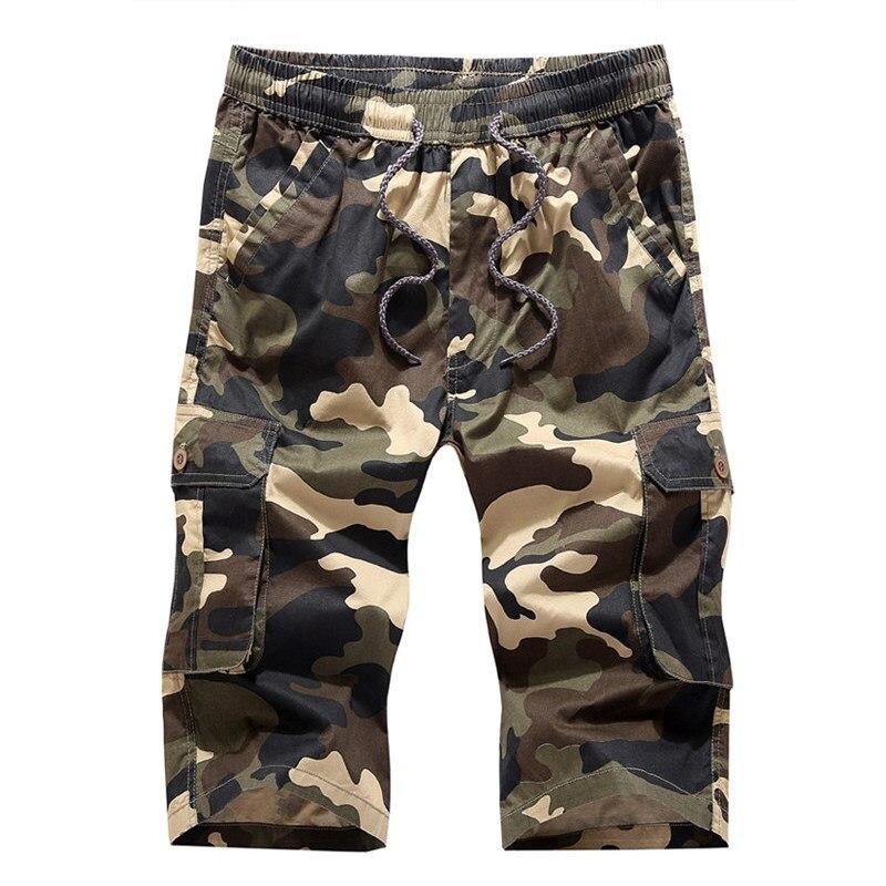 New 2018 Men Cargo Shorts Casual Loose Short Pants Camouflage Military Summer Knee Length Plus Size Man Shorts Elastic Waist