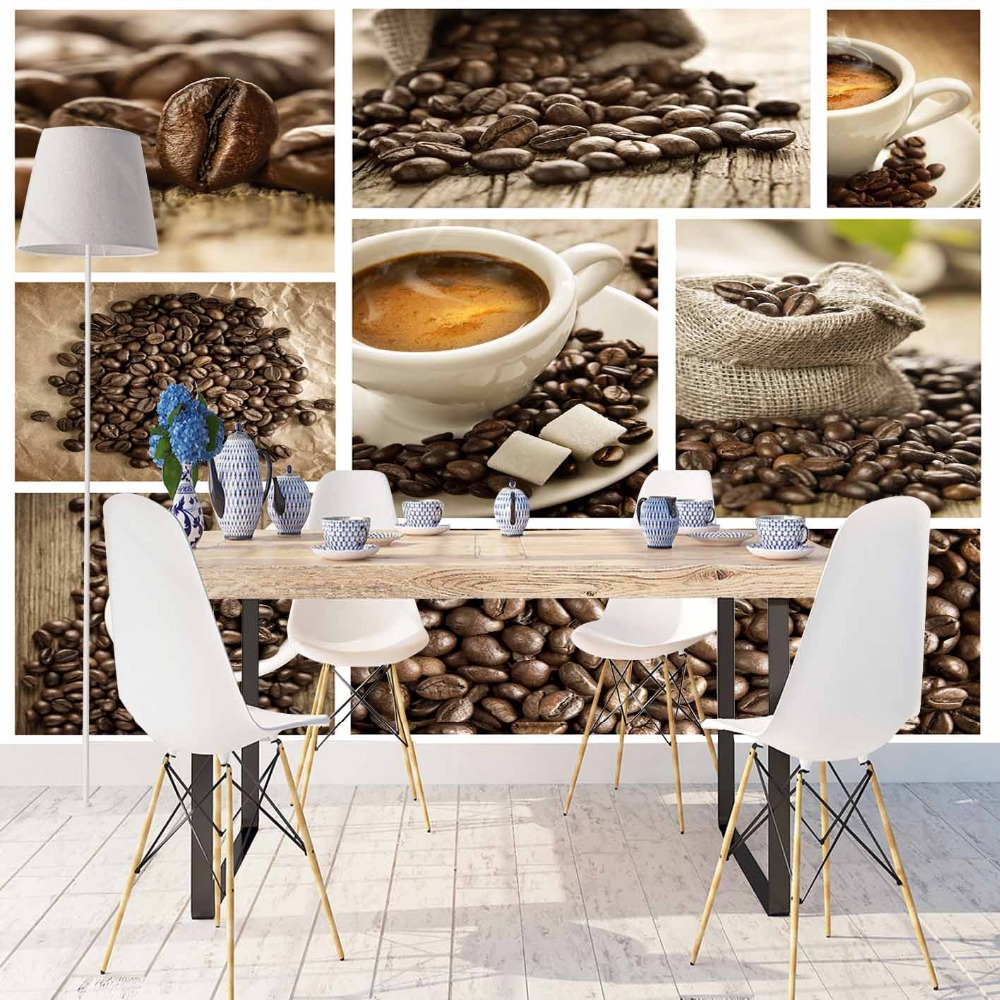 Else Vintage Cafe Beans Cup Of Coffee Patchwork 3d Print Photo Cleanable Fabric Mural Home Decor Kitchen Background Wallpaper