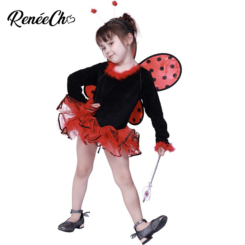 Halloween Costumes For Kids Girls Ladybug Costume Christmas Costumes Dress 2018 Animal Cosplay Red Dot Fantasia Dress Wings
