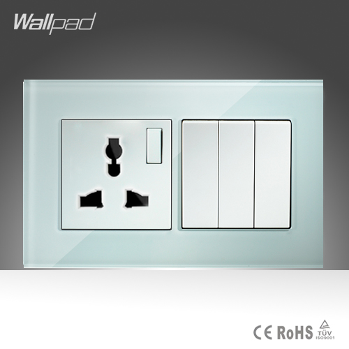10A Universal Socket and 3 Gang 1 Way Switch Wallpad 146 86mm White Crystal Glass 3