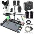 3,5-90X simul-focal Zoom continuo Trinocular microscopio estéreo 34MP 2 K HDMI Cámara 1/2 CTV adaptador gran mesa de trabajo