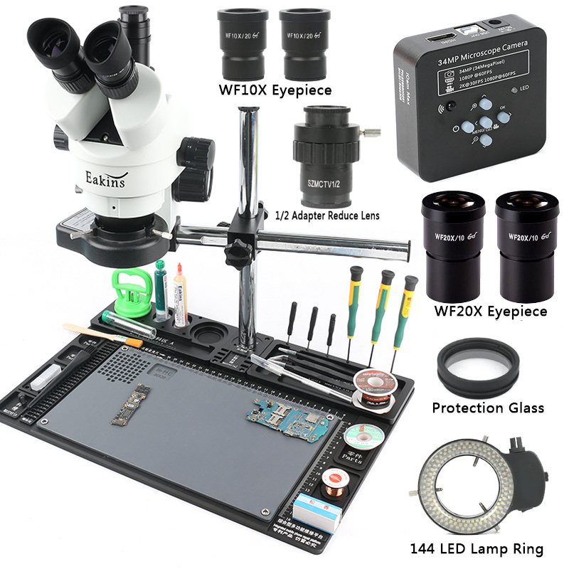 3.5-90X simul-focal Zoom continu Microscope stéréo trinoculaire 34MP 2K HDMI Microscope caméra 1/2 CTV adaptateur grand établi