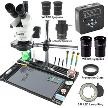 3.5X 180X Microscope stéréo trinoculaire à Zoom continu simul focal 34MP 2K caméra HDMI 1/2 adaptateur CTV WF20X/10MM grand établi