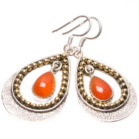 StarGems Tm Natural Two Tones Carnelian Punk Style 925 Sterling Silver Earrings 1 3 4