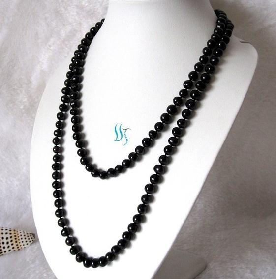 Collier de perles longues parfaites 120 CM couleur noire AA 8-9 MM collier de perles d'eau douce fait à la main bijoux pour femmes livraison gratuite