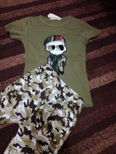 Boy's Summer Camouflage Printed Clothing Set photo review
