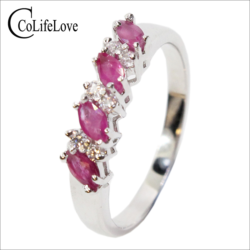 Hotsale Silver Ruby Engagement Ring For Woman 100% 2 Mm * 4 Mm Natural Ruby Ring 925 Sterling Silver Ruby Wedding Ring