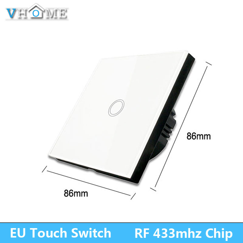 Vhome Touch Light Switch,EV1527 433mhz Smart Home Touch Switch Panel,EU/UK Standard 220V Wifi Control by Broadlink App vhome eu uk standard touch switch black 1gang 1way smart home wireles rf 433mhz remote control wall light ac170 250v