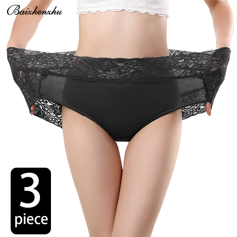 Baizhenzhu Large size Bamboo Fiber fabric ladies underwear high waist large lace soft and comfortable girl sexy ladies briefs