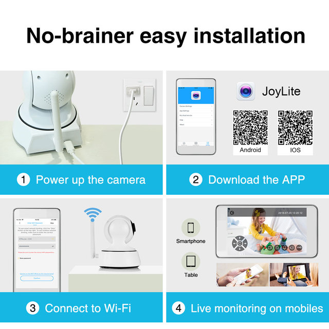 Smart Home Security IP Camera with Wi-Fi Monitor