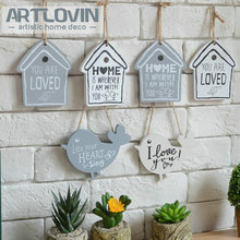 Month End Sales!ZAKKA Creative Household Adornment Wall Hanging Plate Home Garden Welcome Board Bird and House Wooden Craft Sign