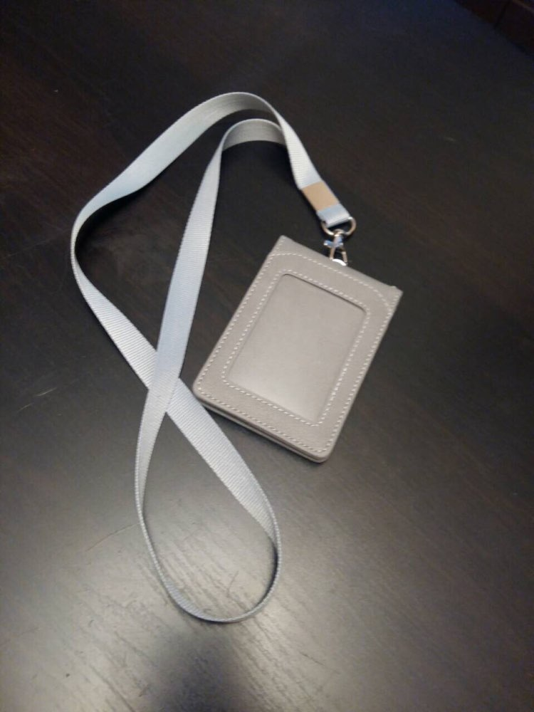 Leather Wallet Work Office ID Card Credit Card Badge Holder + Lanyard + 5 Slots photo review
