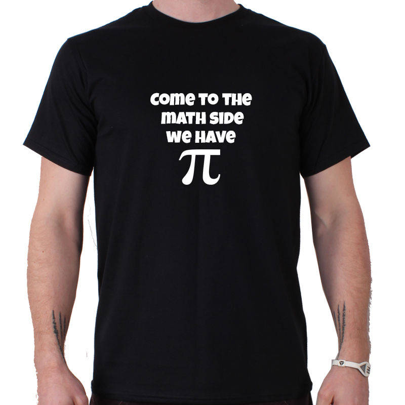 Top Tees Custom Any Logo Size Crew Neck Men Come To The Math Side We Have Pi Print Short Tee