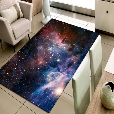 Else Blue Space Galaxy Stars Planets 3d Print Non Slip Microfiber Living Room Decorative Modern Washable Area Rug Mat