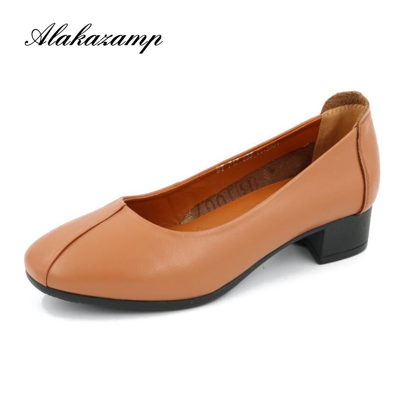 Alakazamp 2018 Genuine Leather OL Women Shoes Thick Med Heels Lady Office Work Shoes Spring Autumn Dress Pumps Size 35-41 X717 aiyuqi big size 41 42 43 women s comfortable shoes 2018 new spring leather shoes dress professional work mother shoes women