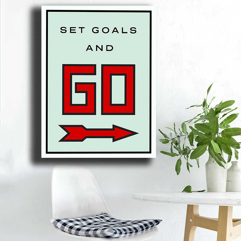 Set Goals And Go Alec Monopolyingly Canvas Prints Picture Modular Paintings For Living Room Poster On The Wall Home Decoration