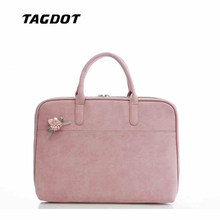 Fashion PU Leather Laptop bags for women 13.3 14 15 15.4 15.6 inch for macbook air 13 inch portable waterproof Notebook bag