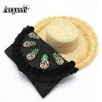 AEQUEEN Summer Bohemian Straw Beach Bag Women Chain Bags Pineapple Messenger Bag Black Handmade Woven Sequin Crossbody Flap 2017
