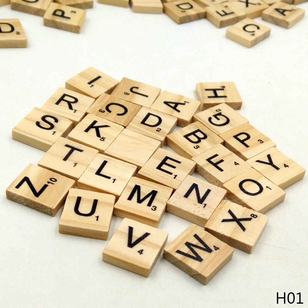100Pcs/pack Wooden Alphabet Scrabble Tiles Black Letters & Numbers For Crafts Wood ...