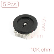 B103 16X2mm 10K Ohm Double Dial Taper Volume Wheel Duplex Potentiometer 5Pcs