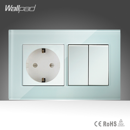 16A EU Socket and 2 Gang Wallpad 146*86mm BS CE White Crystal Glass European Socket and  2 Gang Switch Free Shipping wallpad luxury double 13 a uk switched socket goats brown leather 1 gang switch and 13a wall socket with neon free shipping