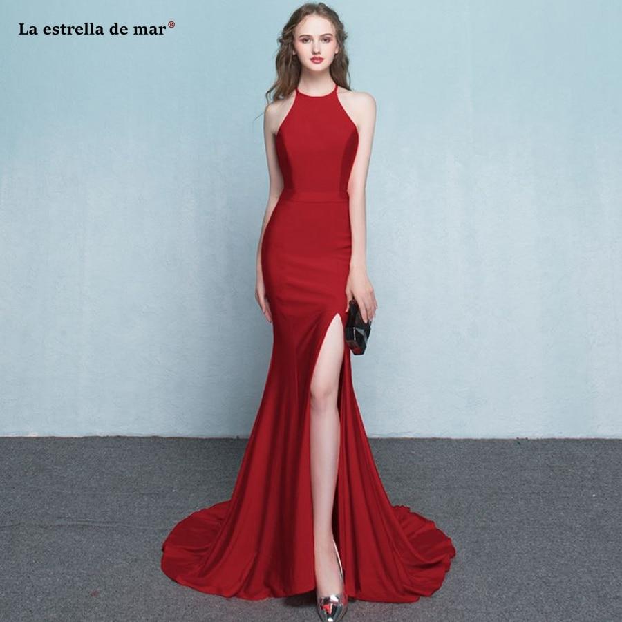 Us 890 Vestidos De Fiesta Largos Elegantes De Gala2018 Taffeta Fabric Halter Front Slit Sexy Mermaid Burgundy Black White Prom Dresses In Prom