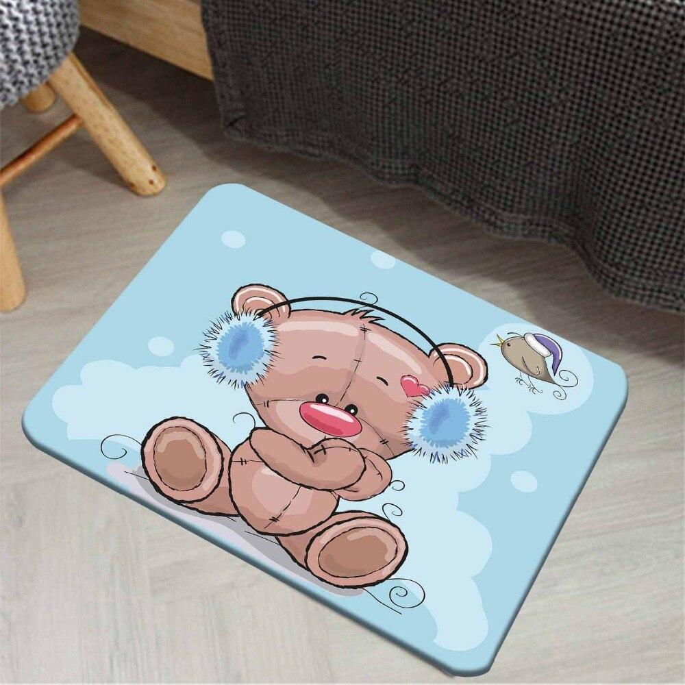 Else Blue Floor Brown Teddy Cute Bears Birds 3d Pattern Print Anti Slip Floor Doormat Home Decor Entryway Kids Children Room Mat