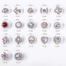 50 pçs 3d girando cristal decoração do prego/spin strass cristal cluster spinner encantos/girando girando prego deco, YL01 17
