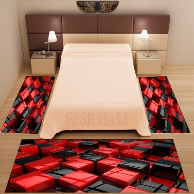 Else 3 Piece Red Black Cube Boxes Abstract 3d Pattern Print Non Slip Microfiber Washable Decor Bedroom Area Rug Carpet Set