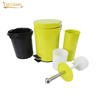 2 PCS/Set Bathroom Accessories Toilet Brush 3L Trash Can Washroom Cleaning Tools Bathware Rubbish Bin Metal Can Brush Holder