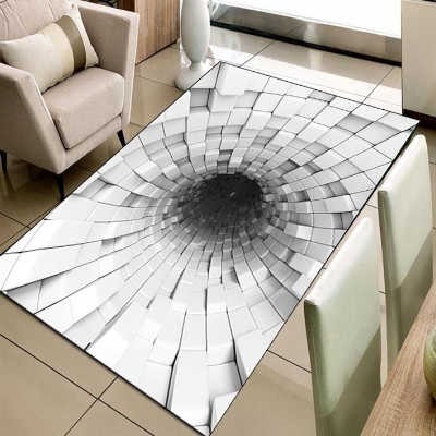 Else Black White Infinite Vortex Cubes Boxes 3d Print Non Slip Microfiber Living Room Decorative Modern Washable Area Rug Mat