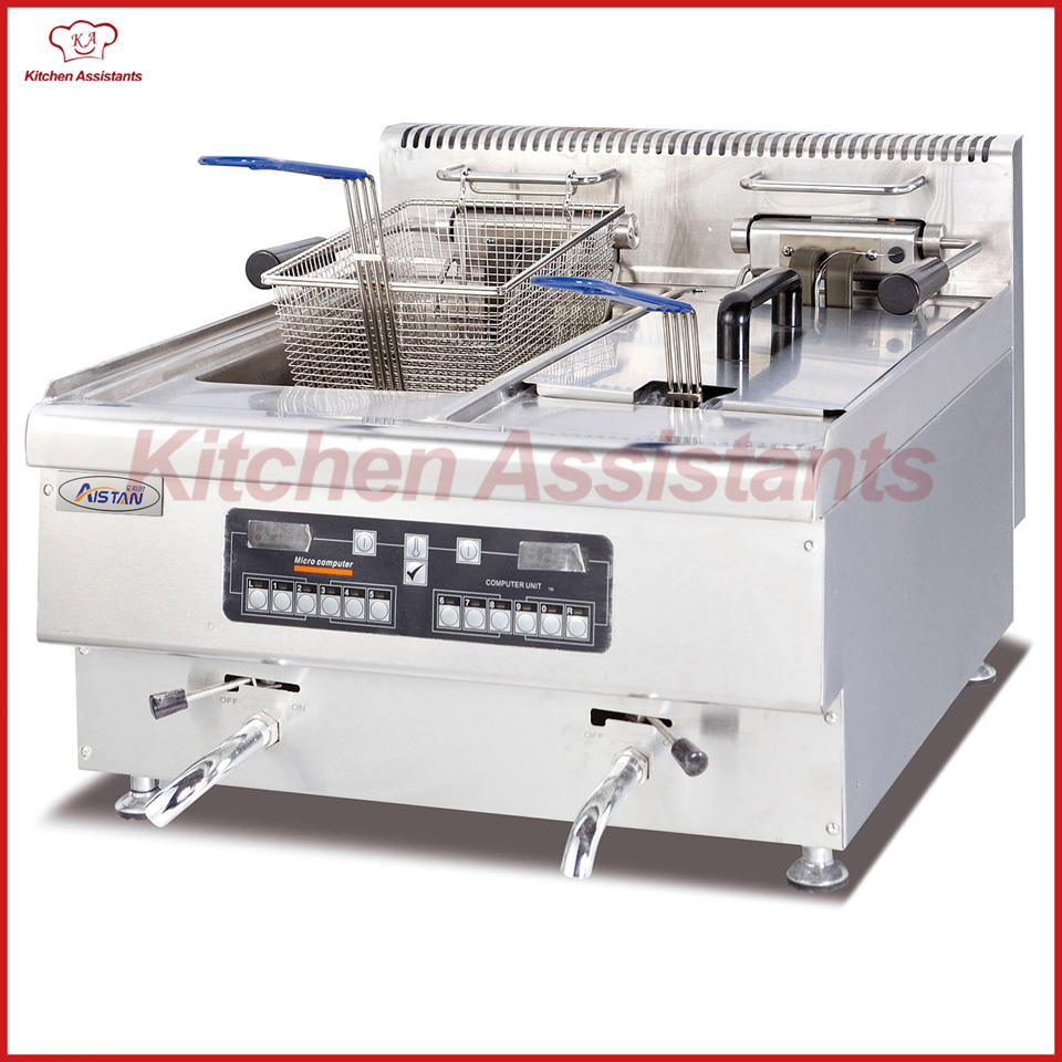 EH665A Electric Fryer with 2 tanks 2 baskets with computer control panel df33a luxury electric computer fryer with 1 tank 2 baskets with oil filter cart