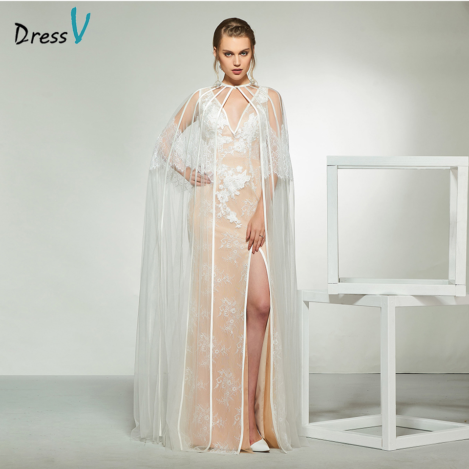 Dressv elegant v neck lace sleeveless backless wedding dress with shawl floor length simple bridal gowns wedding dress