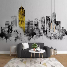 Nordic minimalist abstract ink city architecture background wall manufacturers wholesale wallpaper murals custom photo